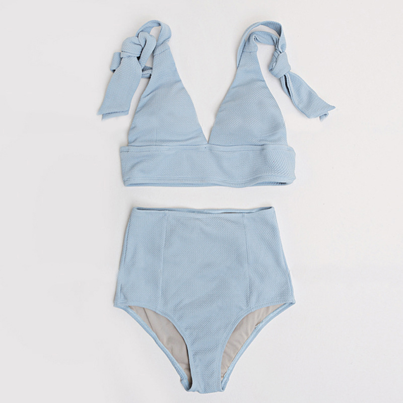d217a554a1eb3 KEKAKA Korea Baby Pink Blue Bow Push Up Bikini 2019 Sexy Deep V Swimsuit  Female High Waist Swimming Suits Swimwear For Women-in Bikinis Set from  Sports ...