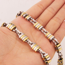 High Quality 316L Stainless Steel Necklace 9mm Byzantine Link Chain Silver Gold Men Women Fashion Jewelry Gift 7-40