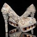 Кот Кристалл & Pearl Круглый Носок Свадебные Туфли Алмаз Высокий Каблук Ботинки Платья Женщин Великолепная Мода Леди Обувь
