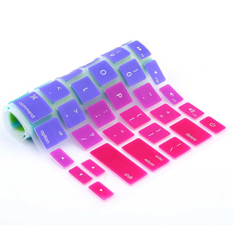 """1 PC Permen Warna Pelangi Keyboard Silikon Case Cover Kulit Pelindung untuk iMac Macbook Pro 13 """"15"""" Cover pelindung Panas Dijual"""