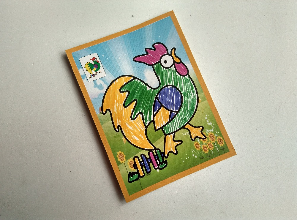 Happyxuan pcs/lot 13*9.5cm Two-in-one Magic Color Scratch Art Paper Coloring Cards Scraping Drawing Toys for Children 5