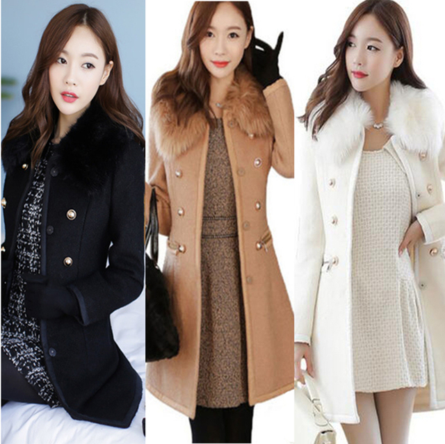 30633784ed2 Women s Plus Size Longline Coats Trim Faux Fur Shawl Collar Button Down  Office Ladies Slim Pea Over Coat Winter Trench Parka