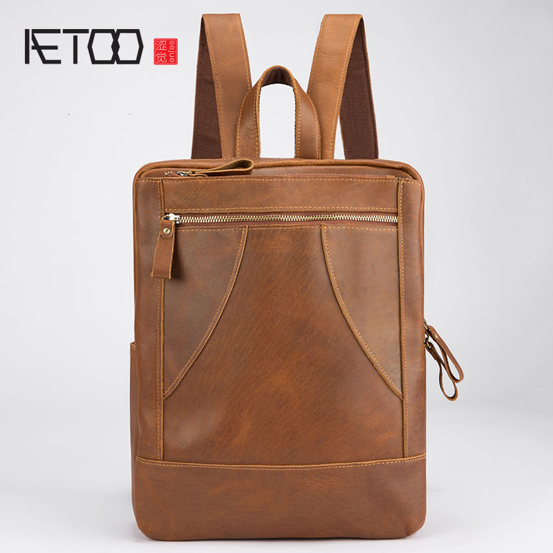 AETOO Original design cowhide mad horse skin retro shoulder bag male leather travel travel backpack street personality male aetoo the new retro mad horse skin backpack fashion shoulder shoulder leather package tide package