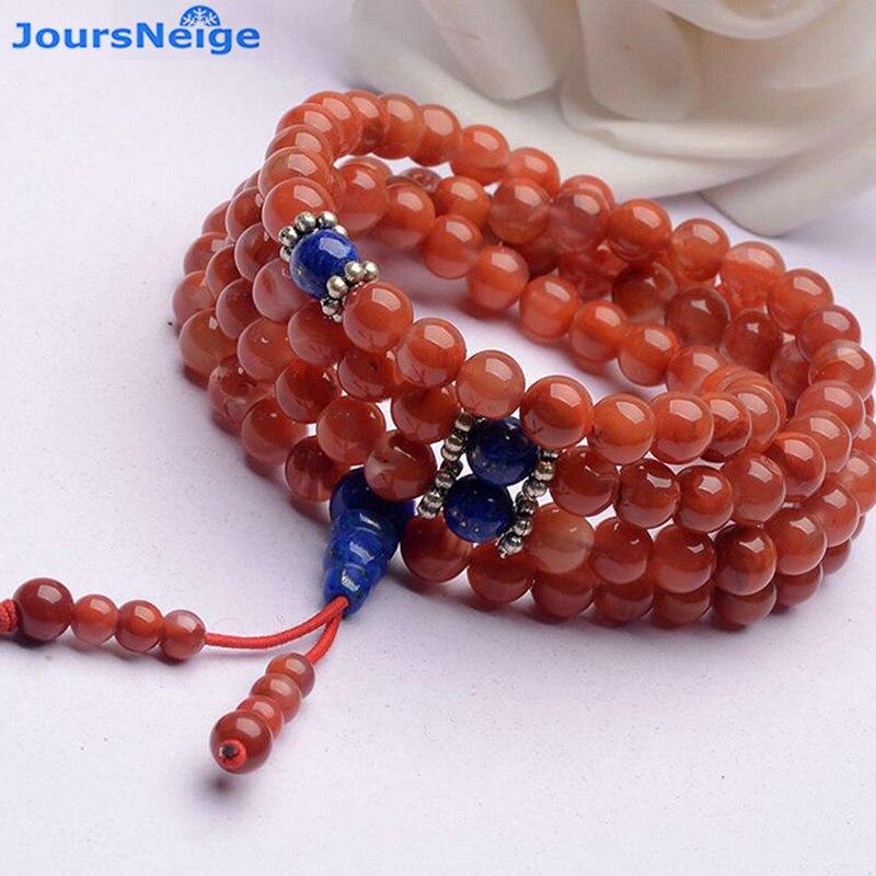 JoursNeige naturel Sichuan sud rouge cristal Bracelets 108 bouddha perles collier huileux cristal Bracelet multicouche bijoux
