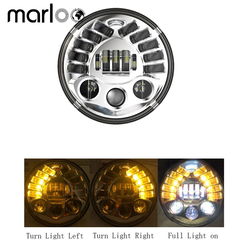 Marloo 1 pc 7 Projector Daymaker Turn Signal Headlight For Jeep Wrangler Harley Street Glide Fatboy Indian Road Master