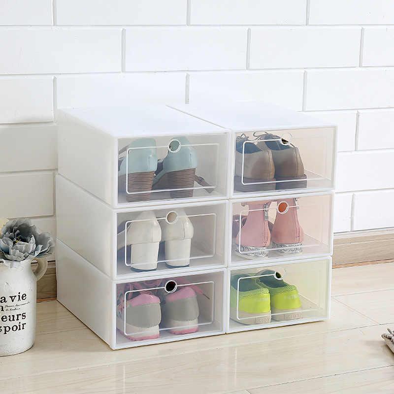 6 Buah/Set Laci Kotak Sepatu Transparan Sepatu Penyimpanan Organizer Kotak Sepatu Plastik Organizer AJ Basket Rak Sepatu
