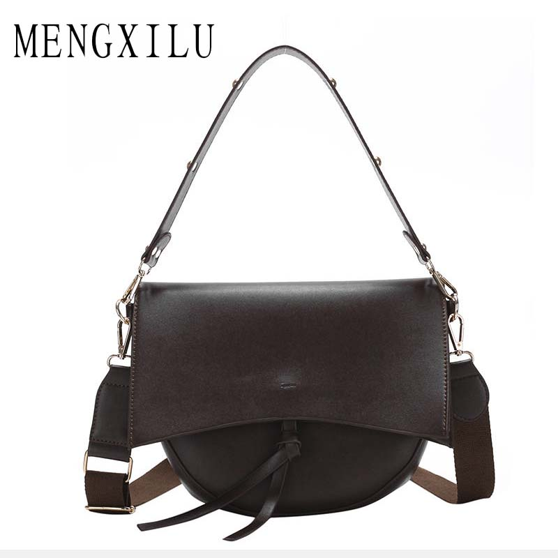 New Hot Vintage Saddle Female Shoulder Bags Wide Strap Large Capacity Ladies Hand Bags PU Leather Crossbody Bags For Women 2019