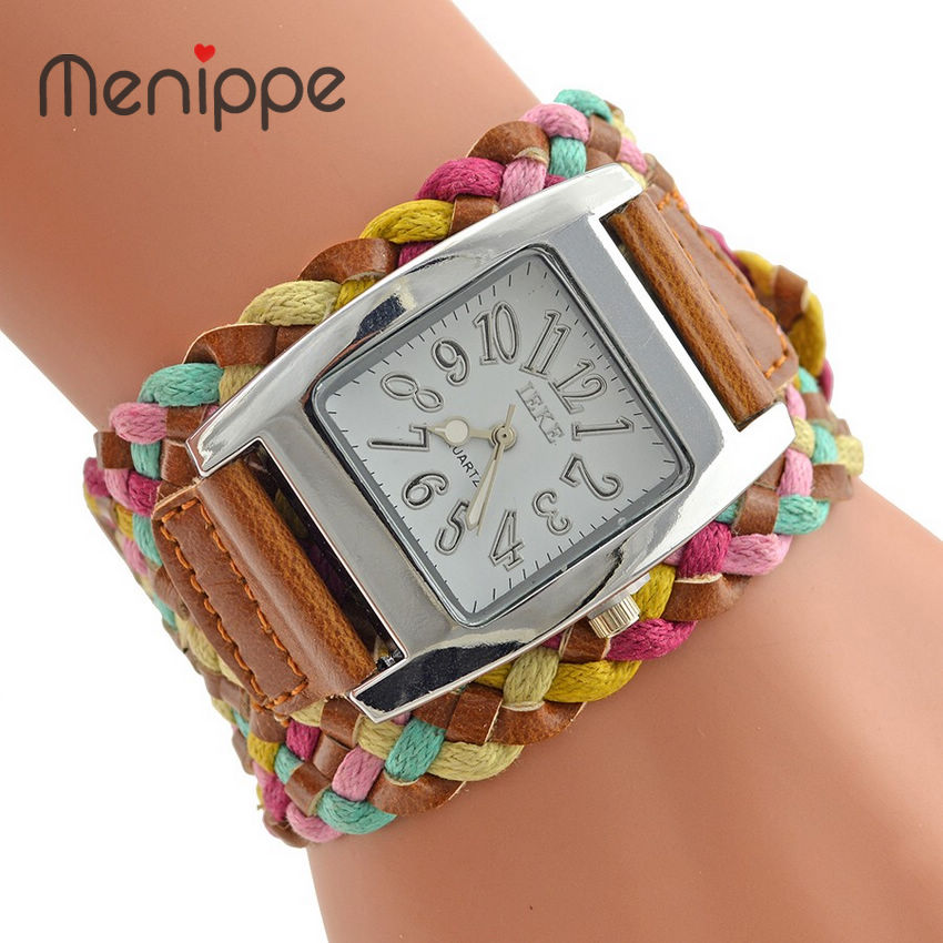 Fashion New Brand PU Leather Watch Women Dress Watches Knit Wide Belt Rope Woven 5 Colors Ladies Rainbow Bracelet Wrist Watches