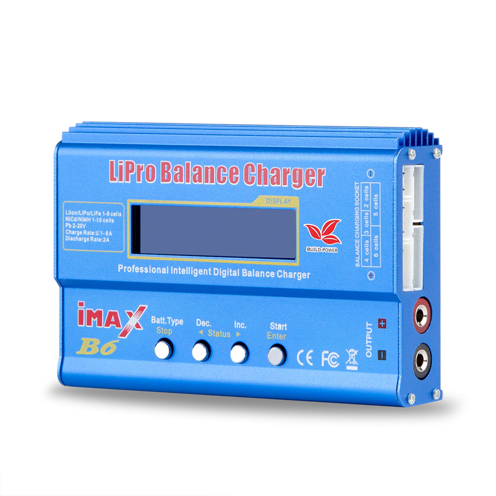 Construir-batería Lipro cargador del Balance de iMAX B6 del cargador Lipro balanza Digital + 12 V 6A adaptador cables de carga