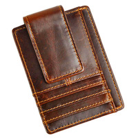 Top Quality Hot Sale Cattle Men Male Vintage Genuine Leather Credit Card Cash Holder Clip Handy