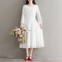 Women Spring Summer Elegant Long Sleeve Embroidery Dresses Vintage O Neck Party A Line Dress White