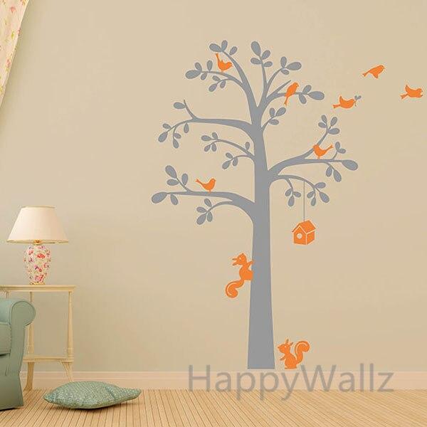 Dla Dzieci Przedszkole Drzewo Naklejki Scienne Dom Wiewiorka Ptaki