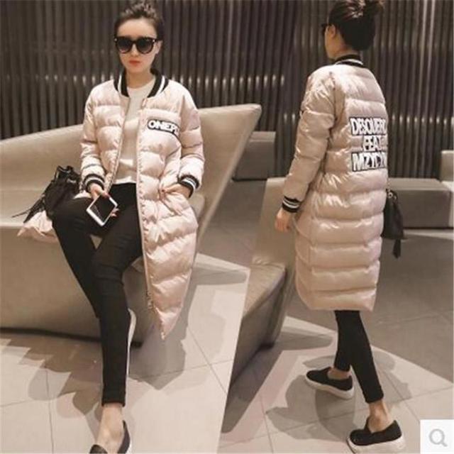 2017 Новая Зимняя Леди Корейской Выращивания Длинный Абзац Бейсбол Равномерное Пальто Куртки Бесплатная Доставка