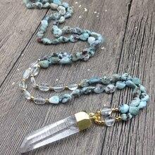 YA3079 необработанный кварц кулон Larimar самородки камень Бусины узел ручной работы ожерелье