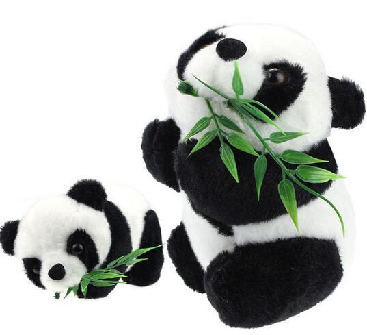 Free Shipping Kids Baby Toy Eatting Bamboo Leaves Panda Boy Girl Cute Soft Push Stuffed Fuzz Panda Animal Doll Toys For Children