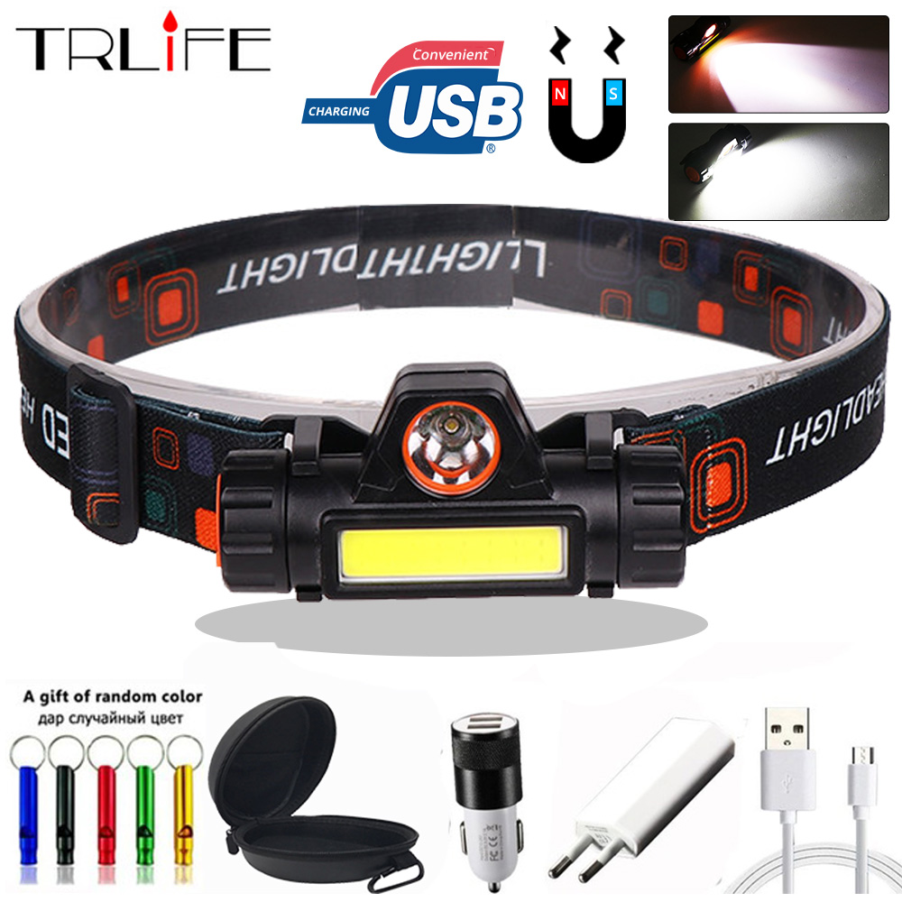 LED Headlamp COB Work Light XPE Waterproof Headlight Magnet With Built-in 18650 Battery Suit For Fishing Camping With Gift