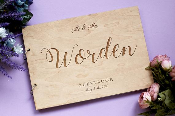 Personalised Wedding Gifts For Guests: Personalised Wreath Wedding Guest Book Gift For Couples