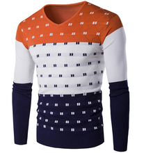 2017 Real Direct Selling Patchwork Casual Pullovers V-neck Winter Warm Men Sweater
