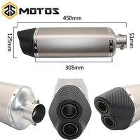 ZS MOTOS Universal Modified Motorcycle Exhaust Pipe Muffler Carbon Fiber Exhaust pipe R6 ER6N CBR300 YZF MT07 MT09 FZ07 FZ09