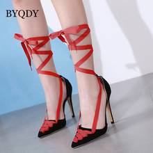 BYQDY New Arrival Red Wedding Shoes Sexy High Heels Pointed Toe Lacing Flock Shoes Women Platform Pumps Shoes Good Quality 2019