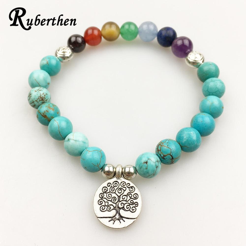 Ruberthen 2018 Trendy Design Women`s Bracelet Vintage Yoga 7 Chakra Bracelet High Quality Blue Tuquoise Balance Bracelet