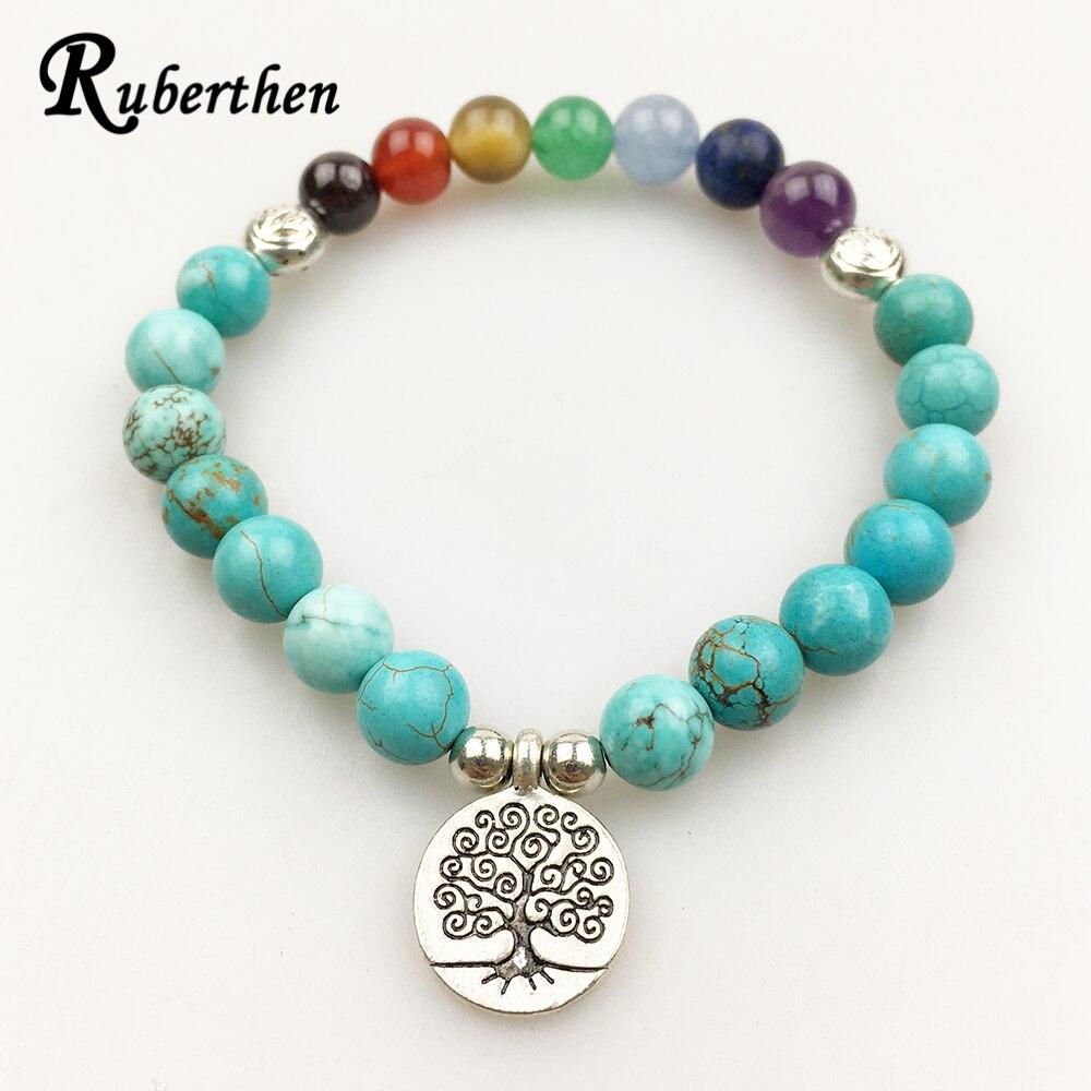 <+>  Ruberthen Модный дизайн женского браслета Vintage Yoga 7 Chakra Браслет Синий бирюзовый браслет Bala ★