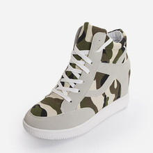 New Height Increase Camouflage Canvas Shoes for Women 2016 Women Casual Shoes High Platform Skate Shoe Zapatos N188