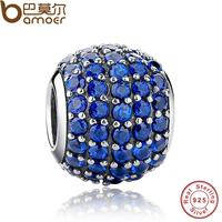 Luxury 925 Sterling Silver Pave Light Blue Crystal Ball Charm Fit Original Pandora Bracelet With Clear