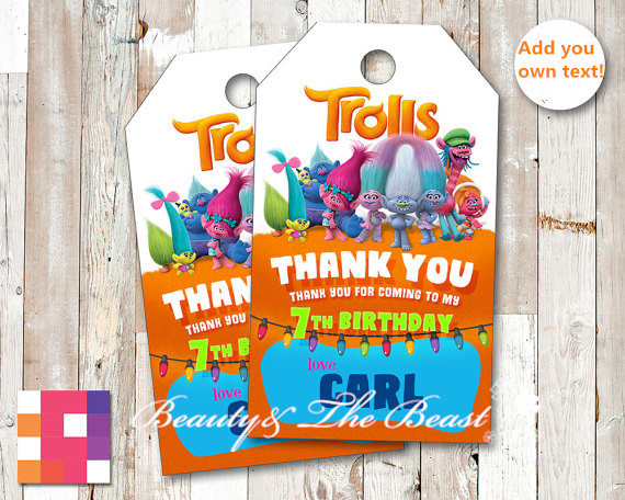 Personalized Trolls Favor Tags Thank You TagsGift Favors Birthday Party Decorations Kids