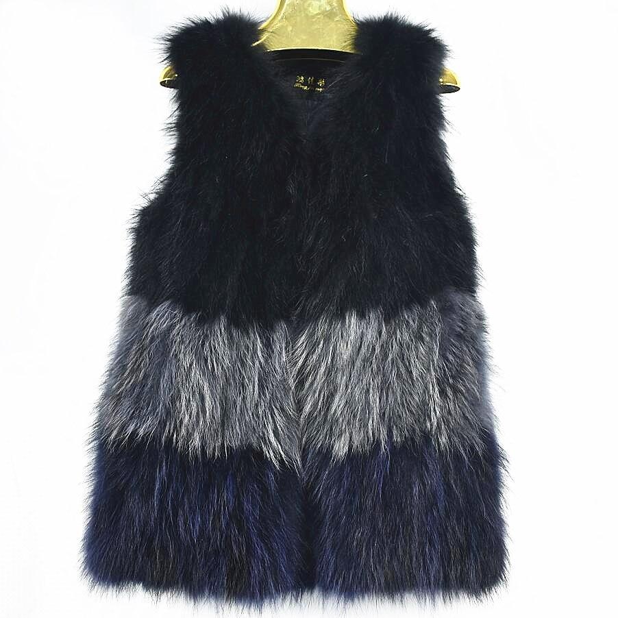 2018 Chaleur De Raton Casual Épaules Renard Fourrure Gilet Laveur Mode Réel Naturel Femelle Black SxrBwqS7