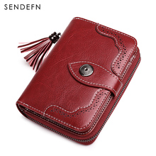 New Arrival Split Leather Short Wallet Women Small Purse Female Card Holder Retro Style Money Zipper Bag Coin Purse