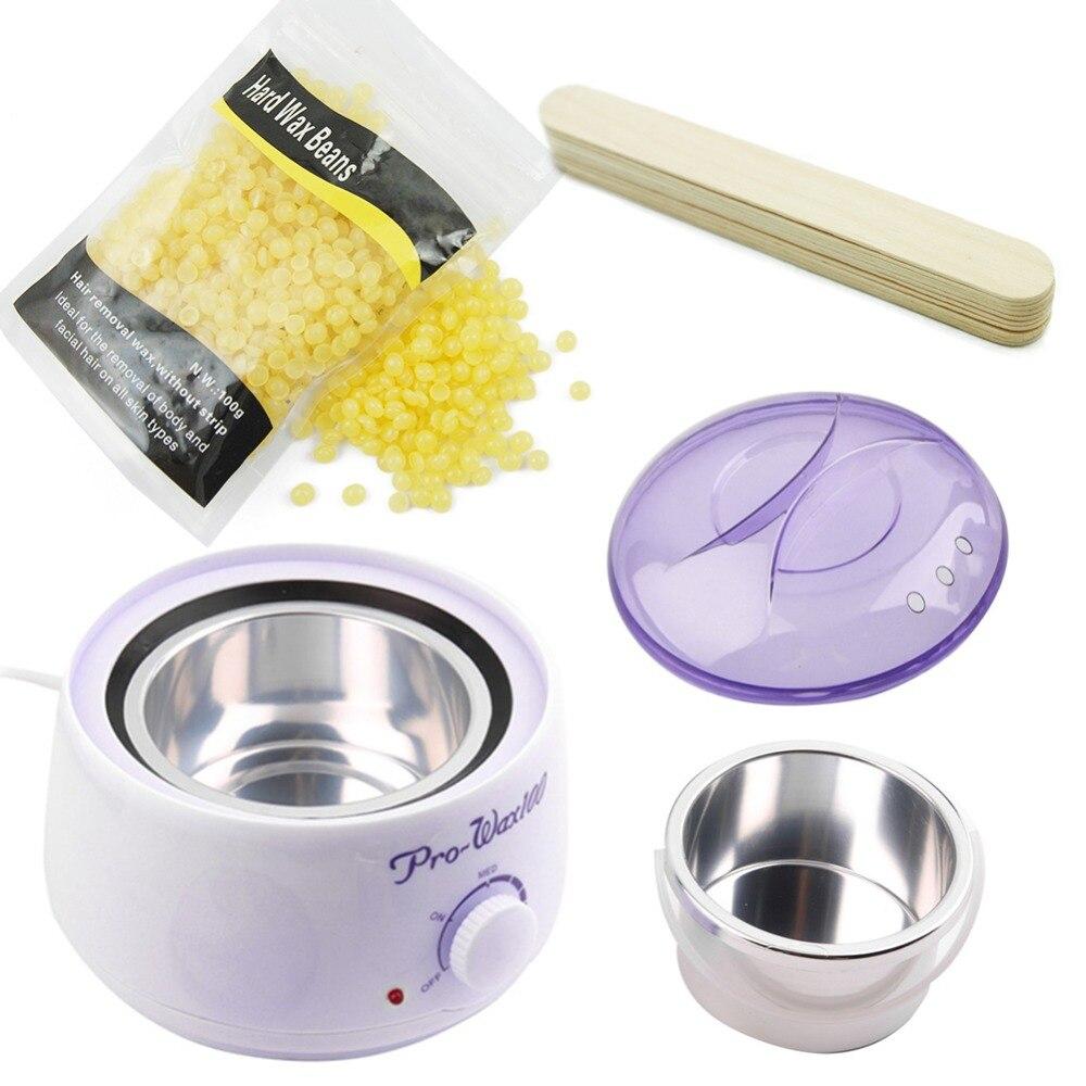 Pelo herramienta profesional de calentador de cera Mini SPA mano depiladora pies cera de parafina con frijoles 10 piezas palos de cera kit de