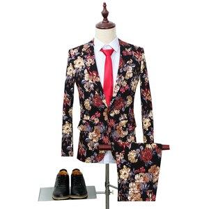 Image 1 - Trajes de fiesta florales para hombre, de dos piezas trajes de boda, trajes Vintage con estampado de flores, traje de boda Harajuku para hombre, ropa ajustada 2019