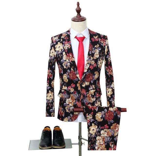 Trajes de fiesta florales para hombre, de dos piezas trajes de boda, trajes Vintage con estampado de flores, traje de boda Harajuku para hombre, ropa ajustada 2019