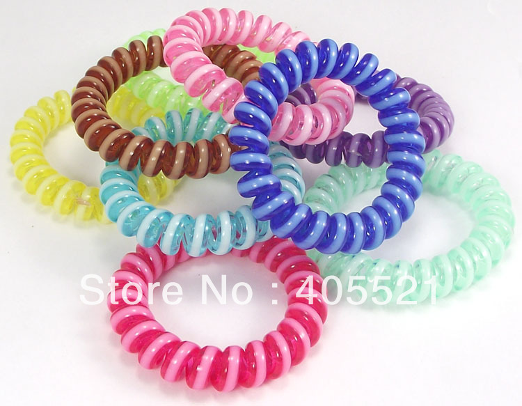 Hair Accessory Ultralarge Two-tone Candy Colors Wire Headband Rubber Band Hand Ring Telephone Cord Hairband