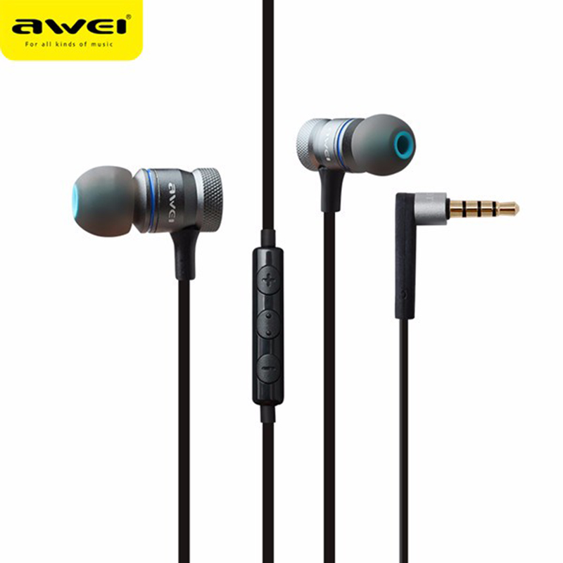 Awei ES-70TY Universial Earphone 3.5mm Heavy Bass Wired Metal Earphone Headset With Microphone For Samsung For iPhone Xiaomi original xiaomi mi hybrid earphone in ear 3 5mm earbuds piston pro with microphone wired control for samsung huawei p10 s8
