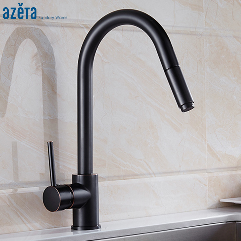 Azeta 360 Degree Swivel Pull Out Kitchen Sink Faucets Brass ORB Single Handle Cold Hot Water