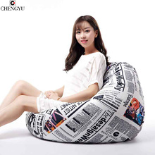 Removable Washable Living Room Furniture Fabric linen sofa  Lazy Bean Bag Room Furniture  Various Styles Printing Chair 80*90cm