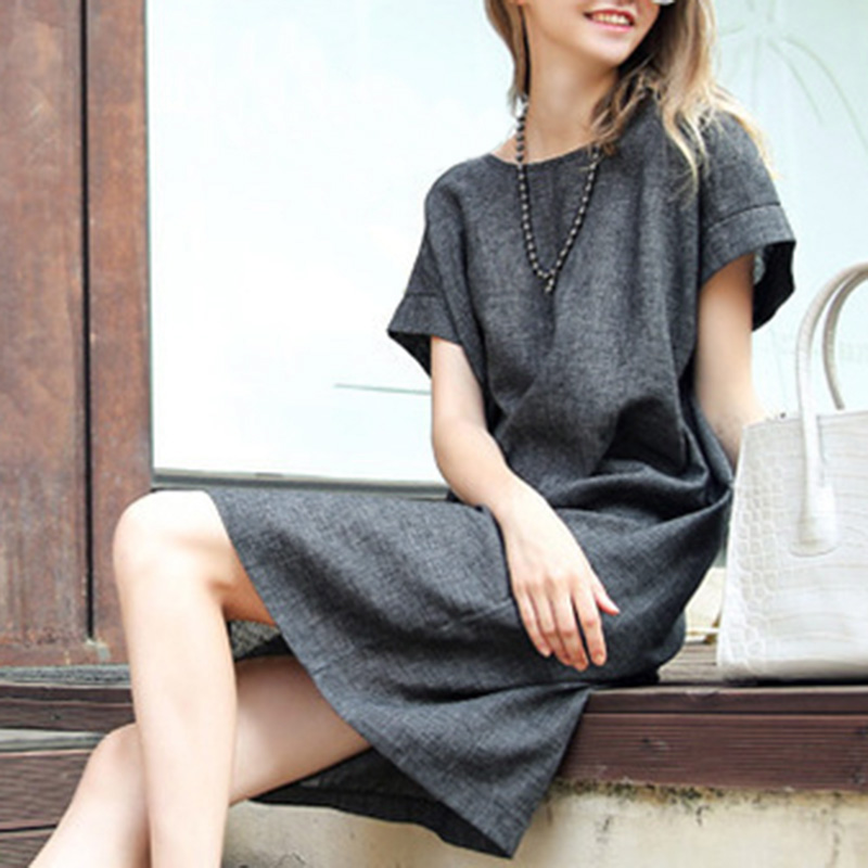 Summer Women Dress Casual Loose Cotton Linen Dress Short Sleeve Shirt Shift Dress Plus size