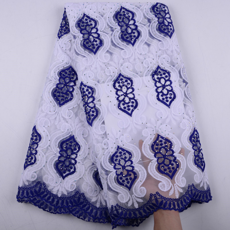 Latest White Plus Blue French Nigerian Lace Fabrics High Quality Milk Silk African Laces Fabric Wedding