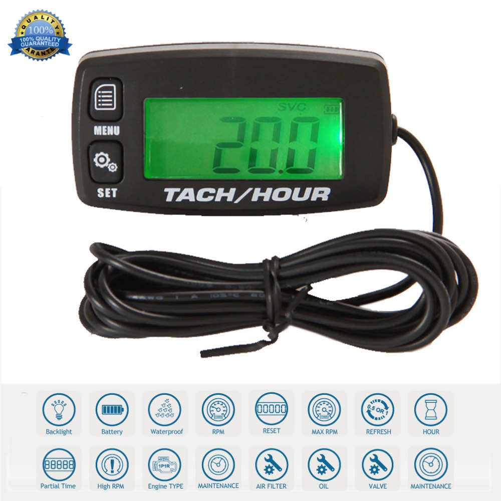 Digital Resettable Inductive Tacho Hour Meter Tachometer For Motorcycle Marine Boat ATV Snowmobile Generator Mower RL HM032Rtachometer for motorcycleinductive tachometermotorcycle digital tachometer -