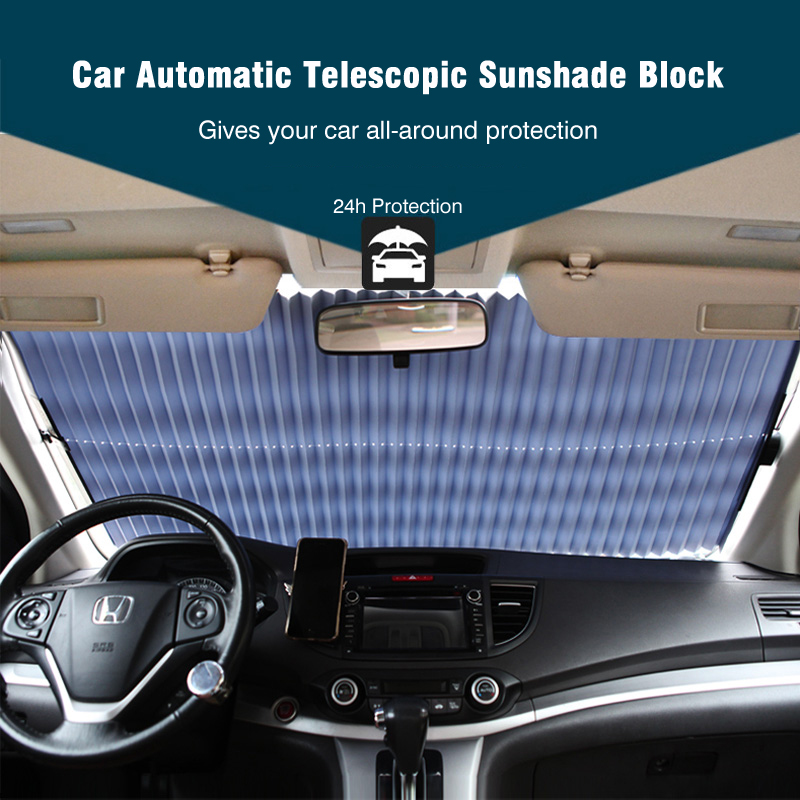 Upgrade! Car Retractable windshield sun shade Block sunshade cover Front/Rear window foil Curtain for Solar UV proect film