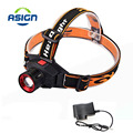 LED Headlamp Cree Q5 Waterproof Built-in Lithium Battery Rechargeable Head lamps 3 Modes Zoomable Torch with Charger
