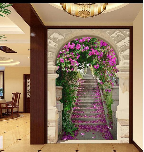 Benutzerdefinierte 3d wallpaper flur treppe kirsche backdrop kunden wallpaper f r w nde 3d tapete f.jpg 640x640 - 3d Tapete Flur