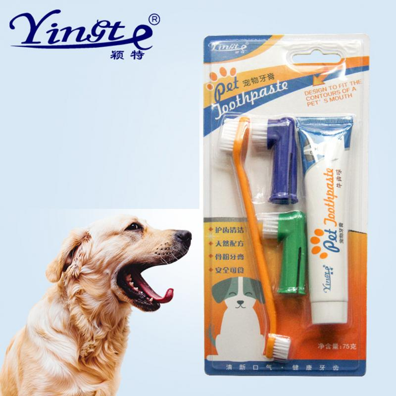 Vanilla/Beef Taste Pet Toothpaste Set Pet Toothbrush Single/double finger Dog Oral Care Cats and Dogs Toothbrush Toothpaste Set image