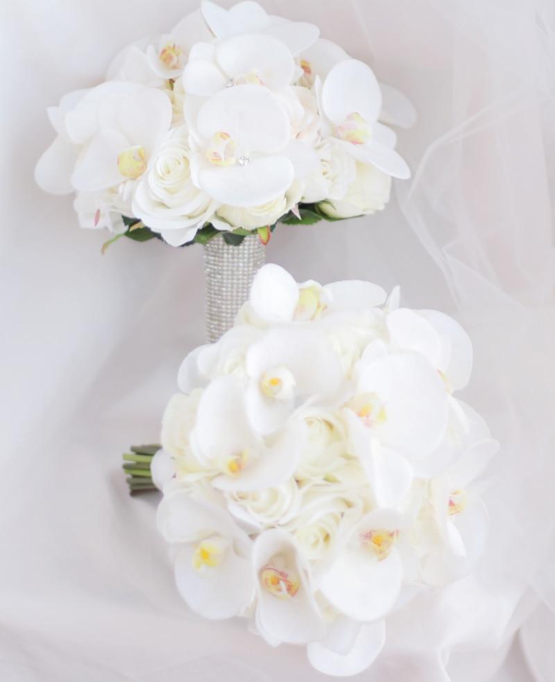 JaneVini Bouquet de Boda Occidental para Novias Flores Artificiales - Accesorios de boda - foto 5