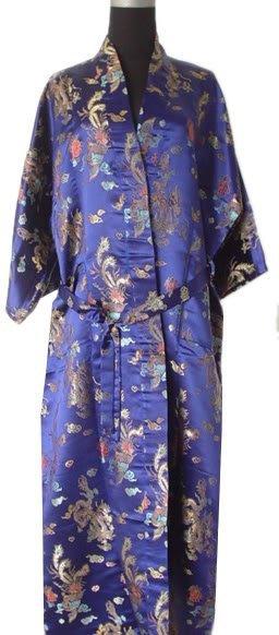 Hot Sale Navy blue Chinese Men's Polyester Satin Robe Dragon phenix Kimono Bath Gown SIZE S M L XL XXL 3XL LDF-3