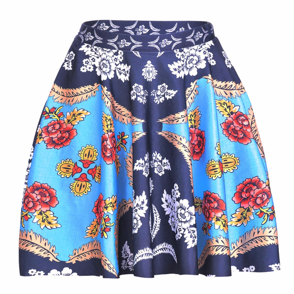 NEW 1236 Summer Sexy Girl National Handkerchief Flower Printed Cheering Squad Tutu Skater Women Mini Pleated Skirt Plus Size