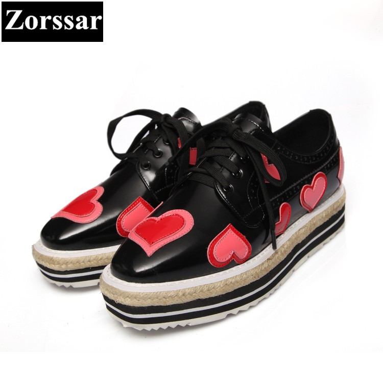 {Zorssar} brand Real leather Fashion Heart design wedge womens pumps platform high heels shoes lace up low heel ladies shoes nayiduyun women genuine leather wedge high heel pumps platform creepers round toe slip on casual shoes boots wedge sneakers