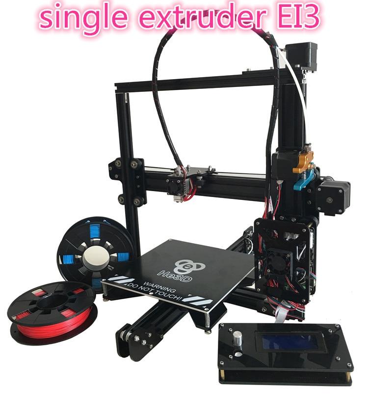Auto Niveau HE3D EI3 unique flex en aluminium extrudeuse DIY 3D imprimante, grand construire en option, 2 rouleaux de filaments pour cadeau